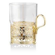 """Стакан с подстаканником Queen Anne """"Античный"""", золотой цвет, стекло, сталь - Queen Anne"""
