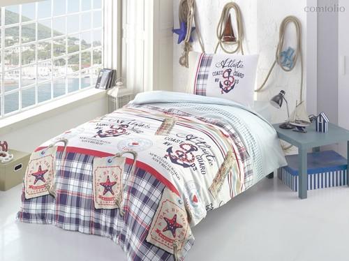Постельное белье Ranforce Atlantic, подростковое, цвет оранжевый, 1.5-спальный - Altinbasak Tekstil