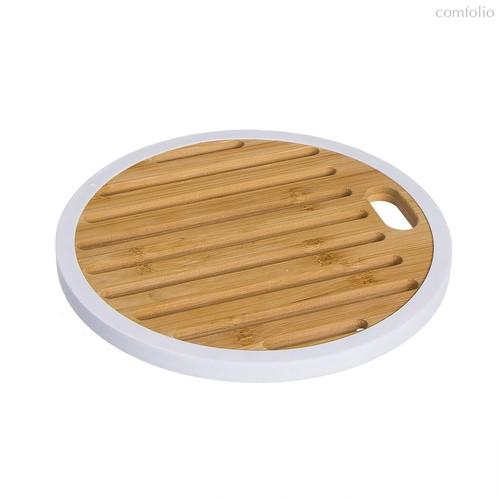 Подставка под горячее Bamboo круглая белая, цвет белый/дерево - D'casa