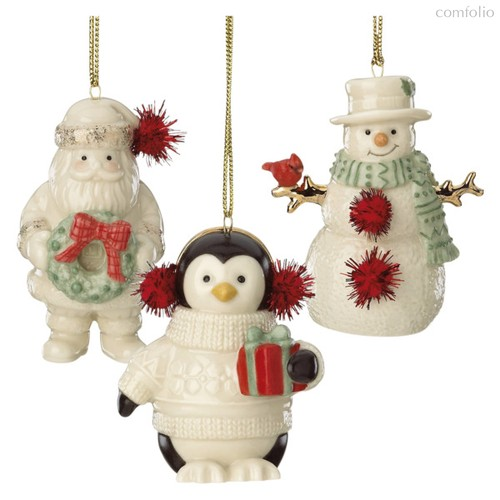 "Набор новогодних украшений Lenox ""Дед Мороз,Снеговик,Пингвин"" 9см, 3шт, п/к - Lenox"
