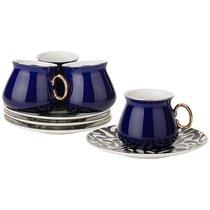 Кофейный Набор На 4Пер. 8 пр. 90 мл , Кобальт, цвет темно-синий - Rongshengyuan