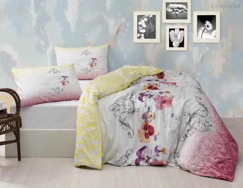 Постельное белье Ranforce Mona, цвет розовый, Евро - Altinbasak Tekstil