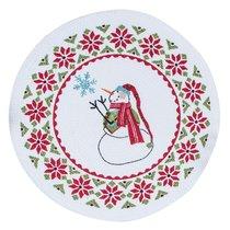 """Салфетка плетеная круглая Kay Dee Designs """"Рождественская история.Снеговик"""" 37см, хлопок, х/б - Kay Dee Designs"""