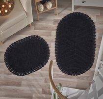 """Набор ковриков для ванной """"MODALIN"""" кружевной CROSS 60x100 + 50x70 см 1/2, цвет черный, 50x70, 60x100 - Bilge Tekstil"""