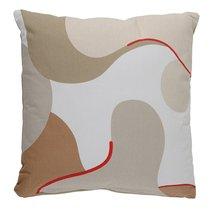 Подушка декоративная из хлопка бежевого цвета с авторским принтом из коллекции Freak Fruit, 45х45 см - Tkano