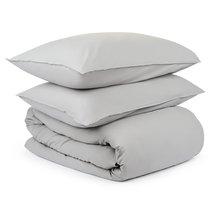 Комплект постельного белья полутораспальный серого цвета из органического стираного хлопка из коллекции Essential - Tkano