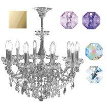 Divo Люстра 10-ти рожковая потолочная gold swarovski strass (crystal AB, violet, blue violet) - Donolux