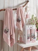 Комп. Пол. MERZUKA махр. в короб. (50*80/1)(70*130/1) 2 шт.BUTTERFLY, цвет розовый - Meteor Textile