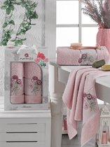 Комп. Пол. MERZUKA махр. в короб. (50x80/1)(70х130/1) 2 шт. ANEMONE, цвет розовый - Meteor Textile