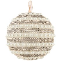 Елочное Украшение Шар Жемчугом Цвет: Rose Gold Диаметр 18 см - Polite Crafts&Gifts