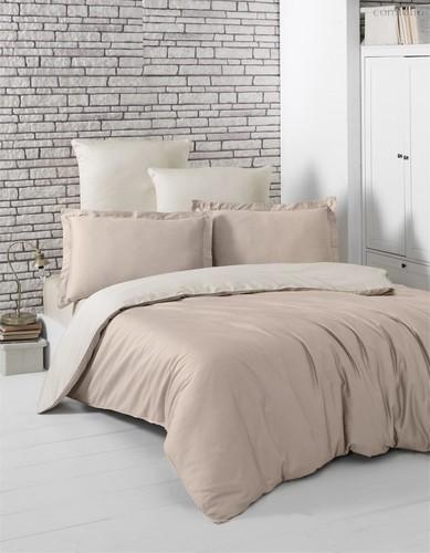 Постельное белье Karna Loft, двухстороннее, цвет бежевый/кофейный, размер 2-спальный - Karna (Bilge Tekstil)