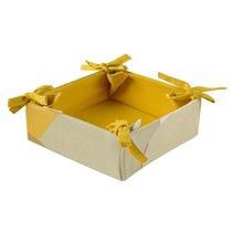 Корзинка для хлеба из хлопка горчичного цвета с авторским принтом из коллекции Freak Fruit, 30х30 см - Tkano