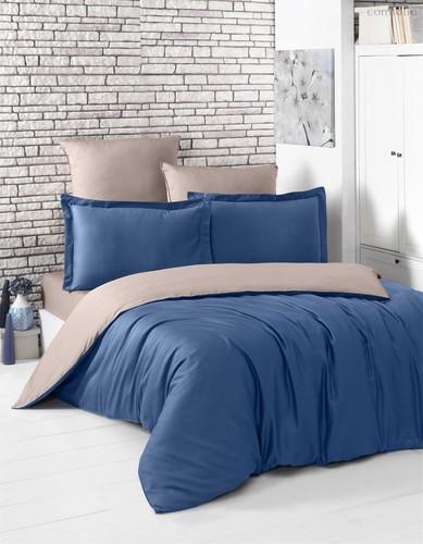 Постельное белье Karna Loft, двухстороннее, цвет капучино/синий, размер 2-спальный - Karna (Bilge Tekstil)