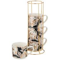 Набор Кружек Golden Rose 4 Шт. На Металл.Подставке 360 мл, Черный - Porcelain Manufacturing Factory