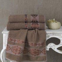 Полотенце махровое Karna Rebeka, цвет коричневый, размер 70x140 - Karna (Bilge Tekstil)