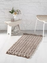 "Коврик для ванной ""MODALIN"" с бахромой PONPON 50x80 см 1/1, цвет коричневый, 50x80 - Bilge Tekstil"