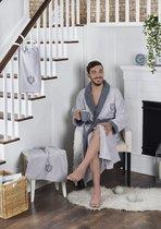 "Набор халат махровый ""KARNA"" с полотенцем ADRA 1/3 (2XL), цвет серый - Bilge Tekstil"