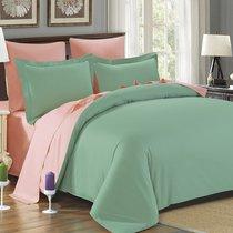 Постельное белье Karna Sanford двухстороннее, сатин, цвет абрикосовый/зеленый, размер Семейный - Karna (Bilge Tekstil)
