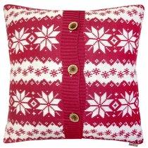 "Вязаный чехол для подушки ""Red history"", 43х43 см, 02-V9790/4, цвет малиновый - Altali"
