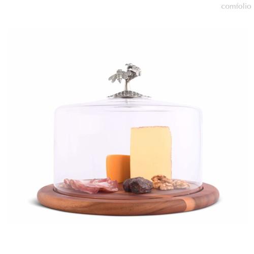 Доска для сыра с крышкой Vagabond House Садовые друзья. Пчелы 33см, дерево - Vagabond House