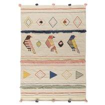 Ковер из хлопка в этническом стиле с орнаментом Птицы из коллекции Ethnic, 160х230 см - Tkano