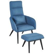 Кресло с подставкой для ног и подушкой Berg Bridjet, серо-голубое - Berg