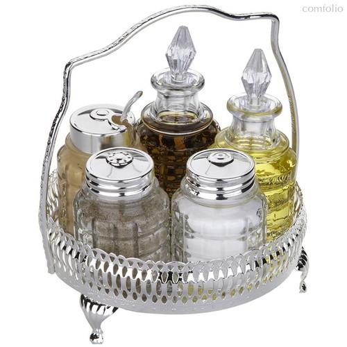 Набор для приправ и масла Queen Anne, 5 предметов, сталь, посеребрение - Queen Anne