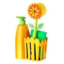 дозатор, Щетка для посуды, губка на подставке FLOWER POWER, цвет желтый - Vigar