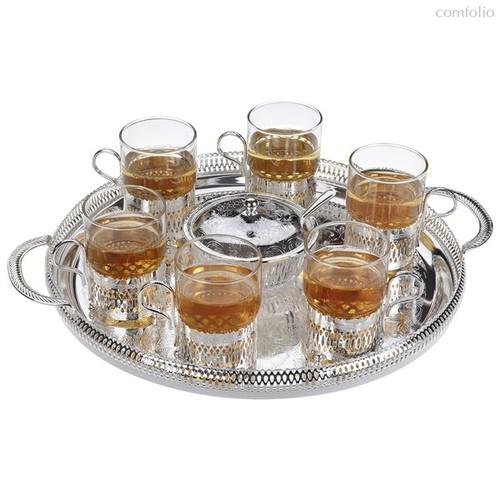 Набор для чая Queen Anne: поднос, сахарница, ложка, 6 стаканов с подстаканниками, сталь, стекло, пос - Queen Anne