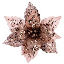 Цветок Искусственный Пуансетия на Клипсе. Диаметр 24 см Без Упаковки - Huajing Plastic Flower Factory