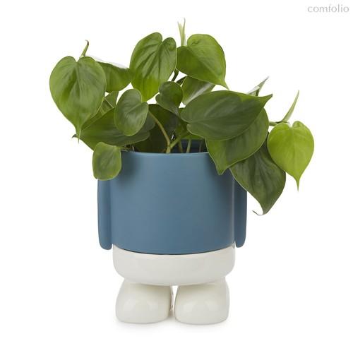Кашпо керамическое для цветов Mr. Standy синее 20см, цвет синий - Balvi