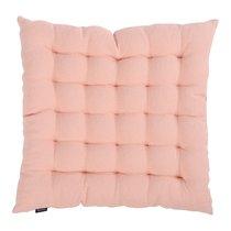 Подушка стеганая на стул из умягченного льна розово-пудрового цвета из коллекции Essential, 40х40 см - Tkano