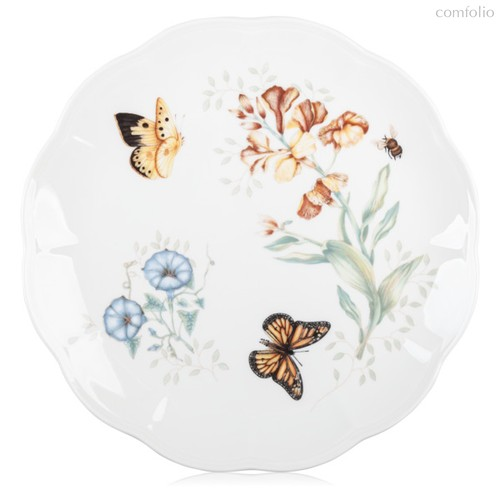"Тарелка обеденная Lenox ""Бабочки на лугу.Бабочка-Монарх"" 27,5см, цвет желтый, 27 см - Lenox"