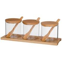 Набор емкости для сыпучих agness native, 10 предметов, диаметр 8 см, высота 8 см боросиликатное - Agness
