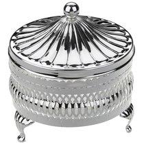 Паштетница круглая с крышкой Queen Anne 11см, сталь, стекло, посеребрение - Queen Anne