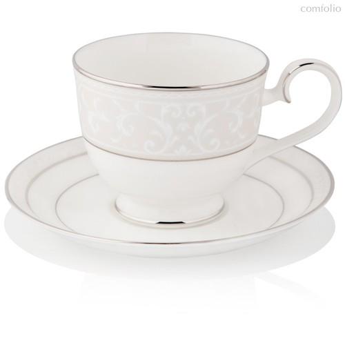 """Чашка чайная с блюдцем 200мл """"Монтвейл, платиновый кант"""" - Noritake"""