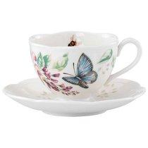 """Чашка чайная с блюдцем Lenox """"Бабочки на лугу"""" 240мл (синяя) - Lenox"""