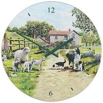 Часы настенные Lesser & Pavey Колли с овечками d30см - Lesser & Pavey