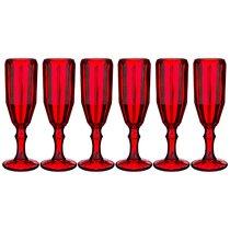 Бокалы для шампанского Рока 6 шт. Серия Muza Color 180 мл Высота 20 см - Dalian