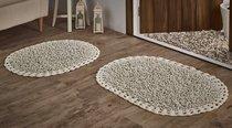 """Набор ковриков для ванной """"MODALIN"""" кружевной с люрексом DUAL 50x80 + 45x60 см 1/2, цвет кремовый, 45x60, 50x80 - Bilge Tekstil"""