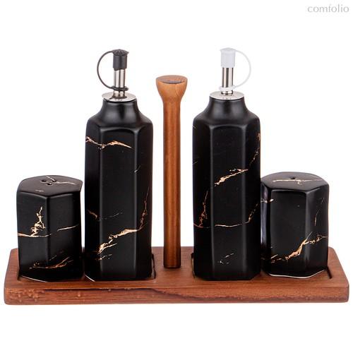 Набор Для Специй 4 Пр.На Деревянной Подставке Коллекция Золотой Мрамор Цвет:Black - Porcelain Manufacturing Factory