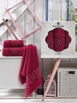 Комп. Пол. MERZUKA махр. в короб. (50x80/2)(70х130/1) 3 шт. DAMASK, цвет бордовый, 50x80, 70x130 - Meteor Textile