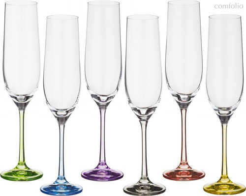 Набор бокалов для шампанского из 6 шт. RAINBOW 190 мл ВЫСОТА 24 см (КОР 8Набор.) - Crystalex