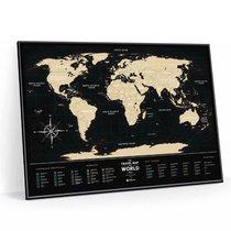 Cкретч-карта мира Travel Map Black World в металлической раме - 1DEA.me