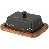 Масленка На Деревянной Подставке Коллекция Золотой Мрамор Цвет: Black