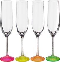 Набор бокалов для шампанского из 4 шт. NEON FROZEN 190 мл ВЫСОТА=24 СМ. (КОР=1Набор.) - Crystalex