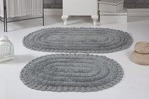 "Набор ковриков для ванной ""MODALIN"" кружевной YANA 60x100 + 50x70 см 1/2, цвет серый, 50x70, 60x100 - Bilge Tekstil"