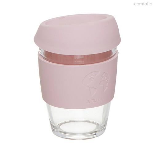 Стакан для кофе с силиконовой крышкой Eco Life 330мл розовый, цвет розовый - D'casa