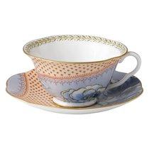 Чашка чайная с блюдцем Wedgwood Бабочки и цветы. Пионы 180мл