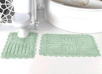 """Набор ковриков для ванной """"MODALIN"""" кружевной ANCOR 60x100 + 50x70 см 1/2, цвет ментоловый, 50x70, 60x100 - Bilge Tekstil"""